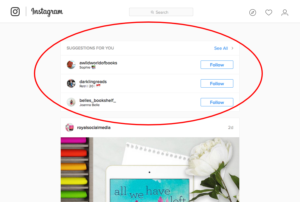 Instagram Account Suggestions (Desktop)
